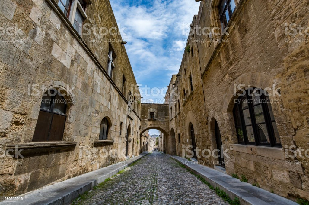 The Street of the Knights on a beautiful day, Rhodes island foto stock royalty-free