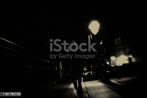 Street, City, darkness, night, Berlin, one young woman only, running