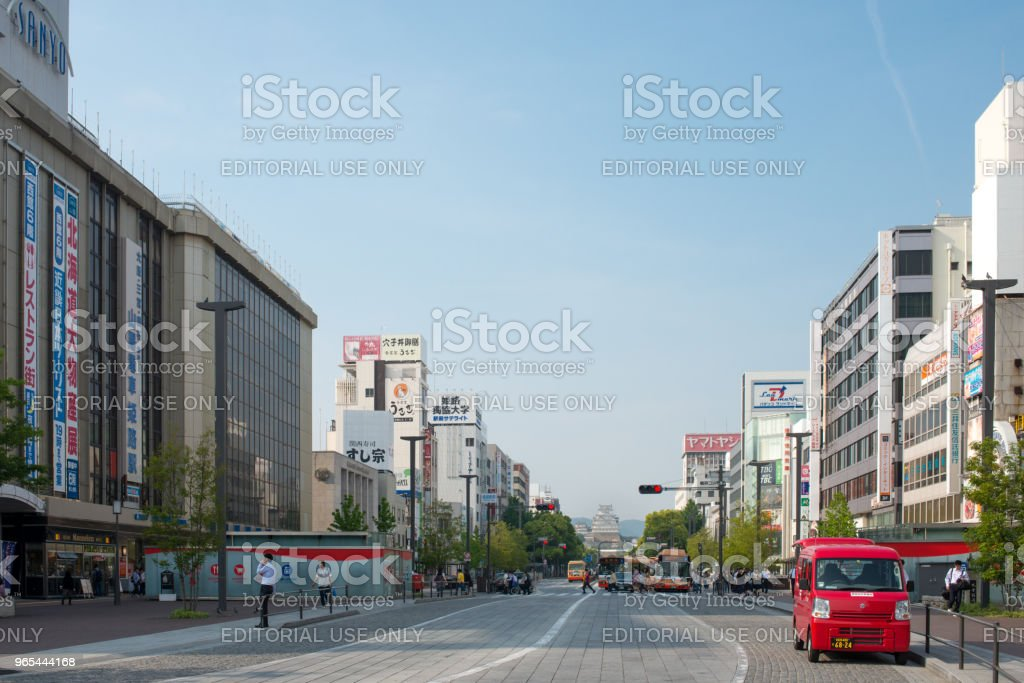 The street that leads to the castle in Himeji, Japan royalty-free stock photo