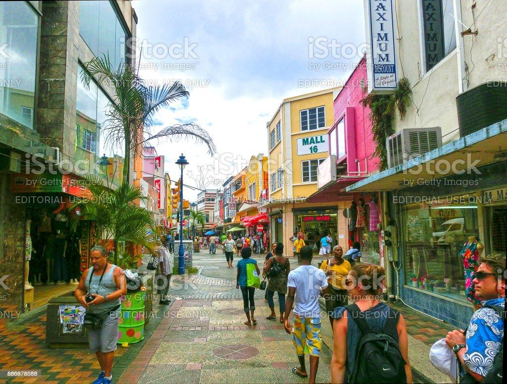 Bridgetown, Barbados - May 11, 2016: The streets at downtown of Bridgetown, Barbados stock photo