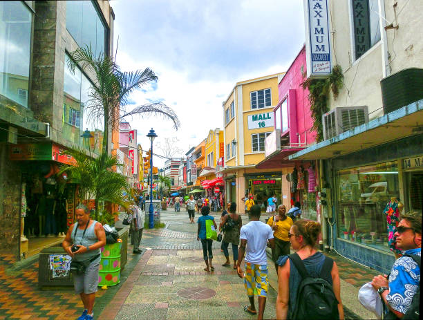 Bridgetown, Barbados - May 11, 2016: The streets at downtown of Bridgetown, Barbados stock photo