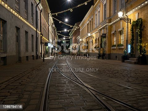 Helsinki / Finland - December 6, 2020: The streets in the capital were empty during the independence day of Finland due to Covid-19 restrictions.
