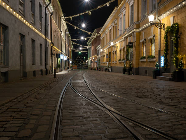 The streets in the capital were empty during the independence day of Finland due to Covid-19 restrictions stock photo