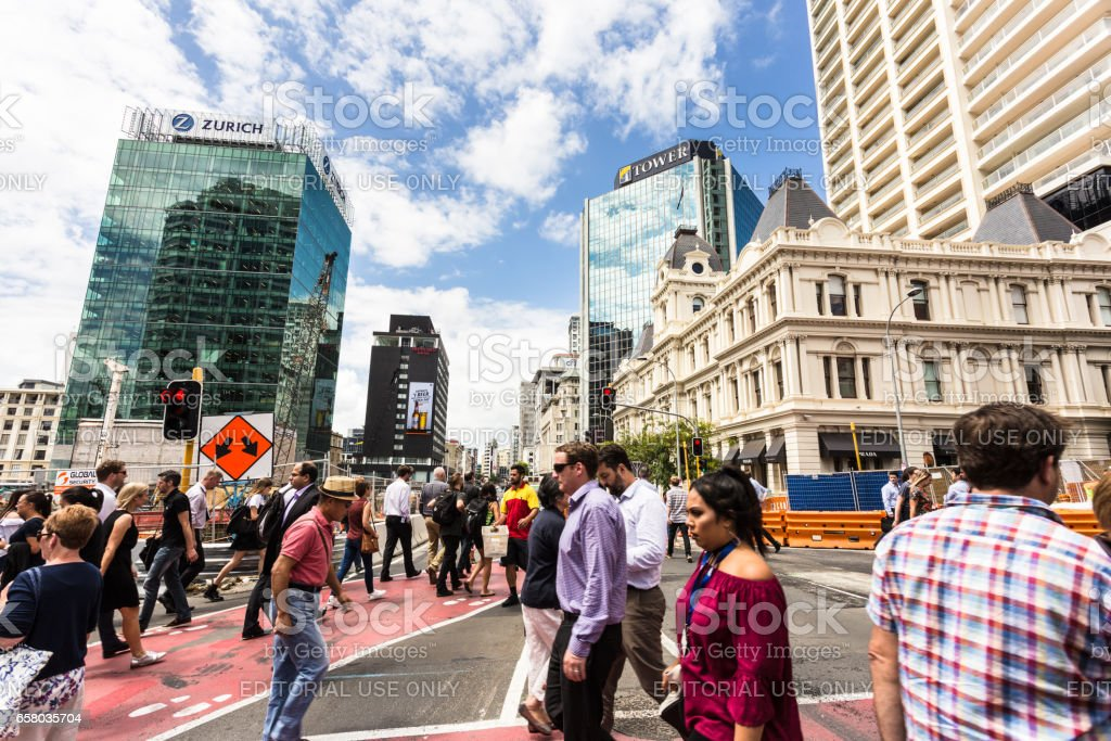 The streets of Auckland on a sunny day in New Zealand stock photo