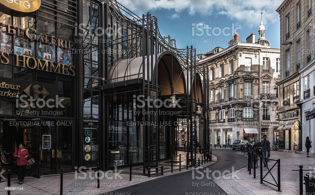 The streets of Bordeaux with modern shopping center stock photo