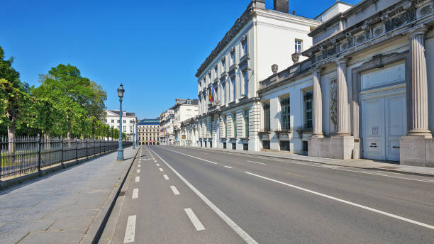 The streets of Brussels without any people during the confinement period. stock photo