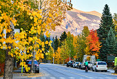 The streets of Canmore in autumn, canadian Rocky Mountains. Canmore is located in the Bow Valley near Banff National park and one of the most famous town in Canada