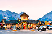 The streets of Canmore in canadian Rocky Mountains. Canmore is located in the Bow Valley near Banff National park and one of the most famous town in Canada