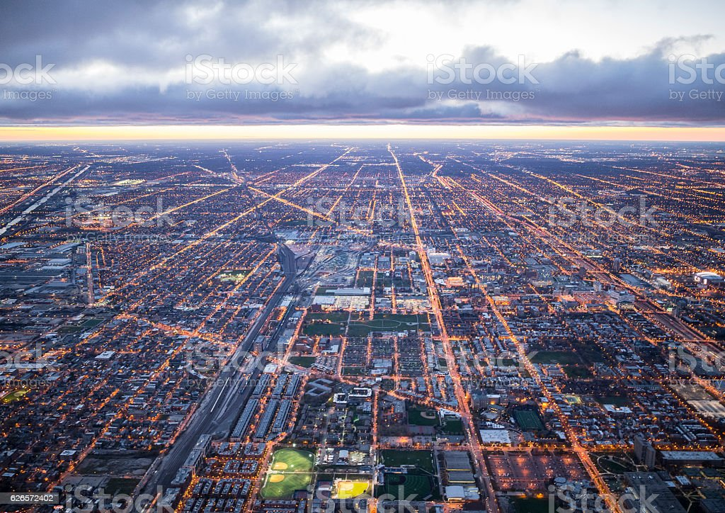 The streets of Chicago at the time of twilight time stock photo