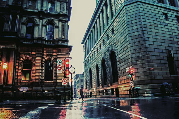 The streets of Montreal Canada Old Port Historic Area in the rain stock photo