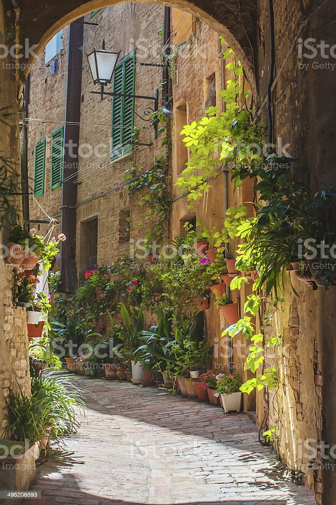 The streets of the old Italian city of Siena stock photo