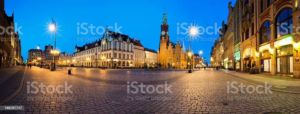 The streets of Wroclaw at dusk stock photo