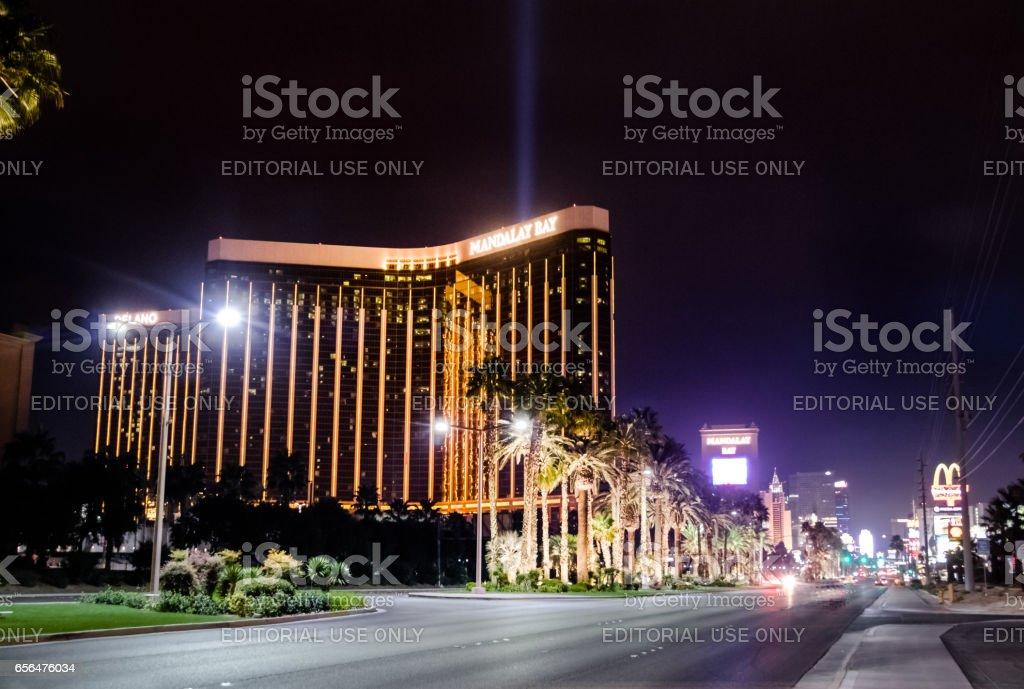 The Strip and Mandalay Bay Hotel and Casino at night - Las Vegas, Nevada, USA stock photo