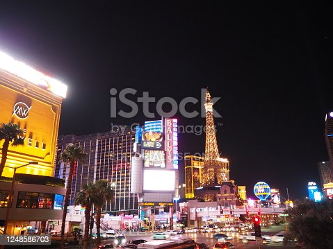 In July 2019, lots of cars were driving on the Strip in Las Vegas.