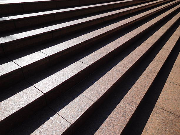 The stripe of the shining outdoor wide stair – Foto