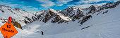 The Stubai Glacier ski area, panorama from Gamsgarten, skirout Wilde Grub`n, Winter 2018 in the Stubai Valley in Austria, the federal state Tyrol