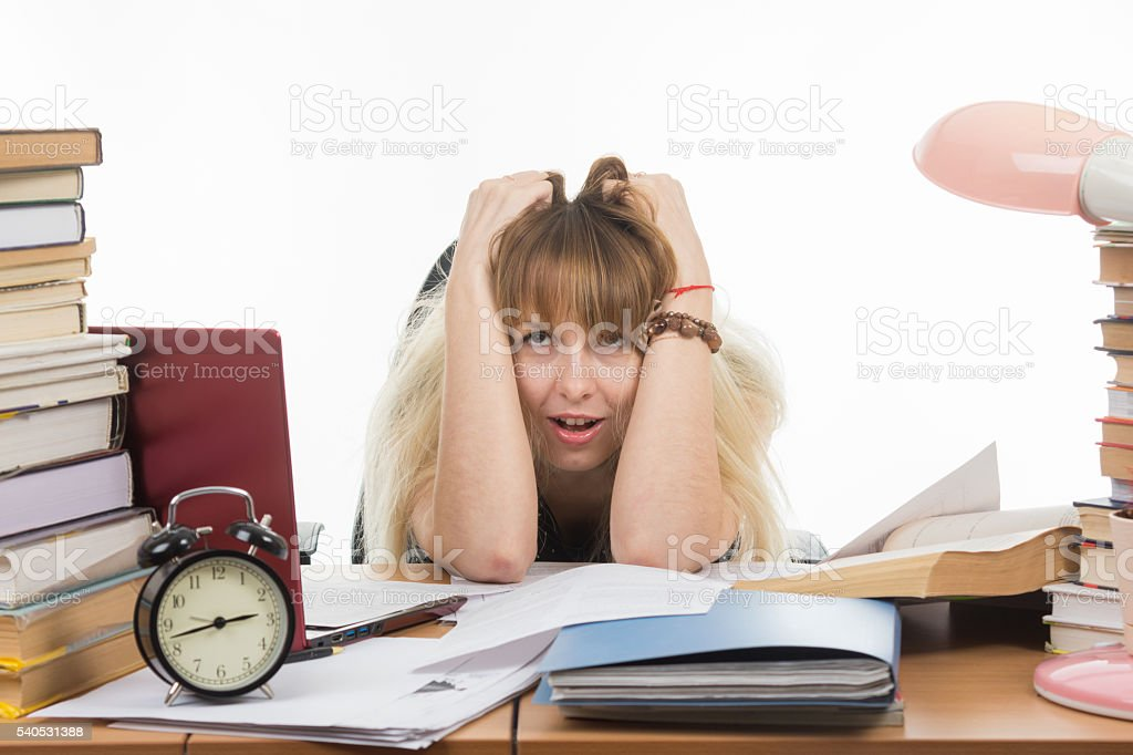 The student is not feeling nervous tension stock photo