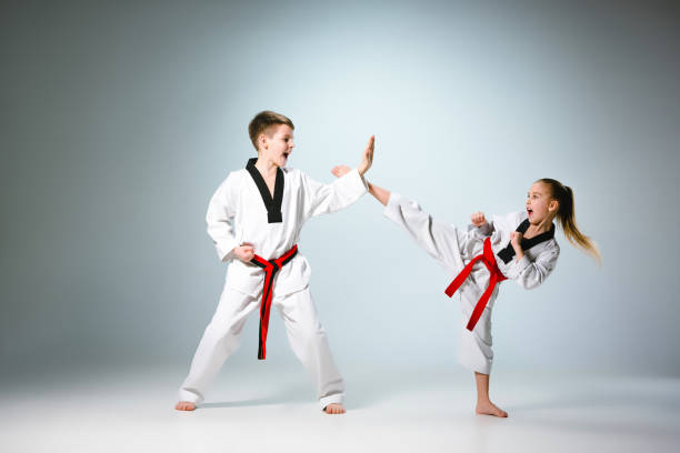 the studio shot of group of kids training karate martial arts - karate stock photos and pictures