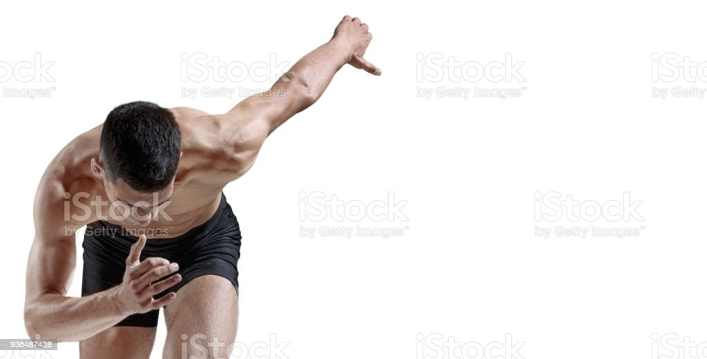 The studio shot of high jump athlete is in action stock photo