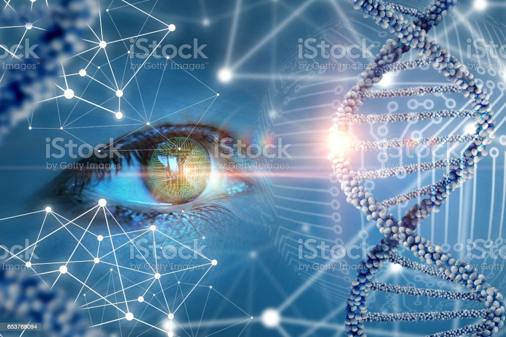 The study and observation of DNA. stock photo
