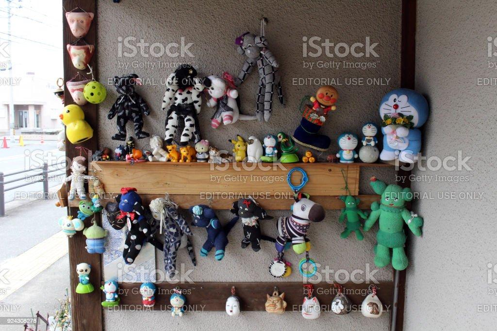 The stuffed toys at one house in Fukuoka, Japan stock photo