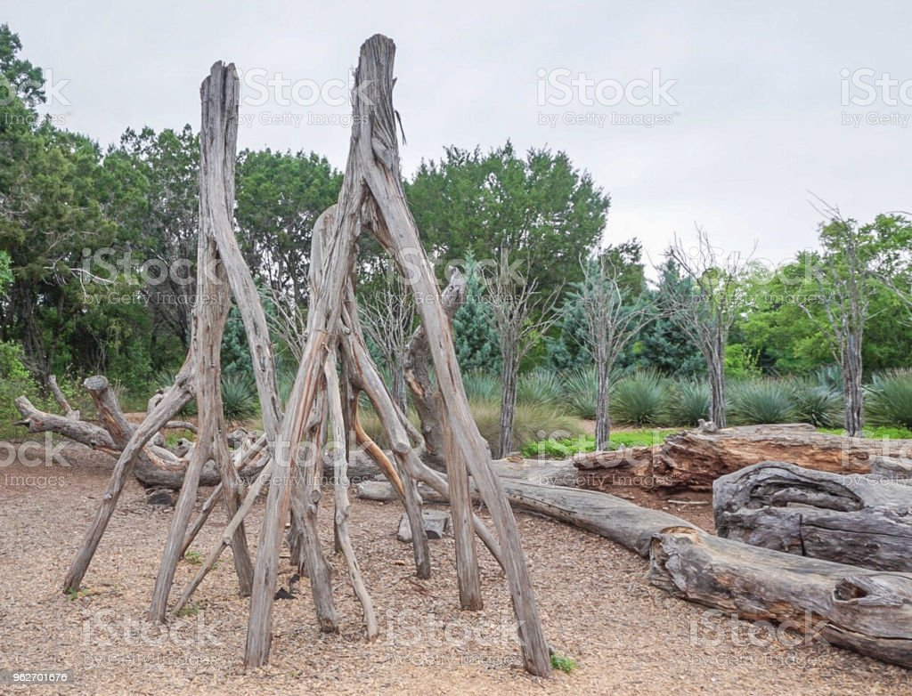The Stumpery Display At Lady Bird Johnson Wildflower in Austin, Texas stock photo