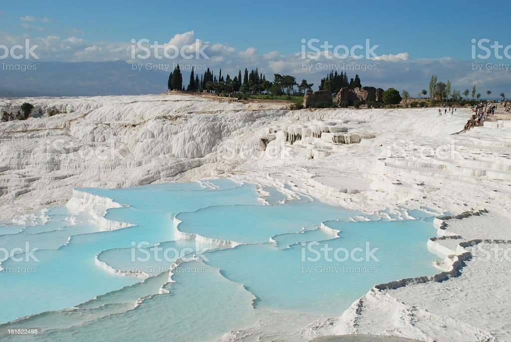 The stunning hot spring and travertines in Pamukkale stock photo