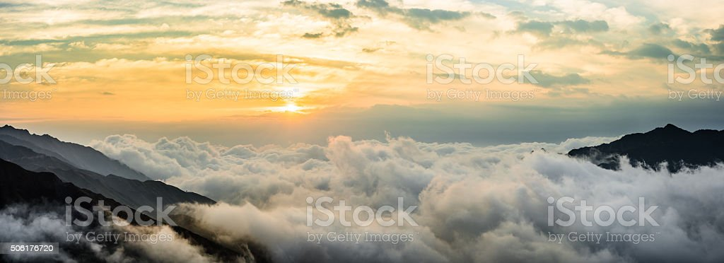 The stunning sunrise with cloudy and moutains stock photo