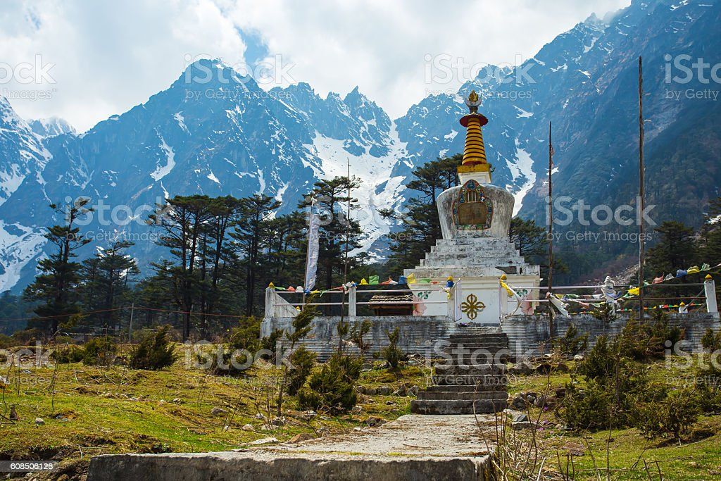 The stupa at Yumthang Valley in Lachung, North Sikkim, India stock photo