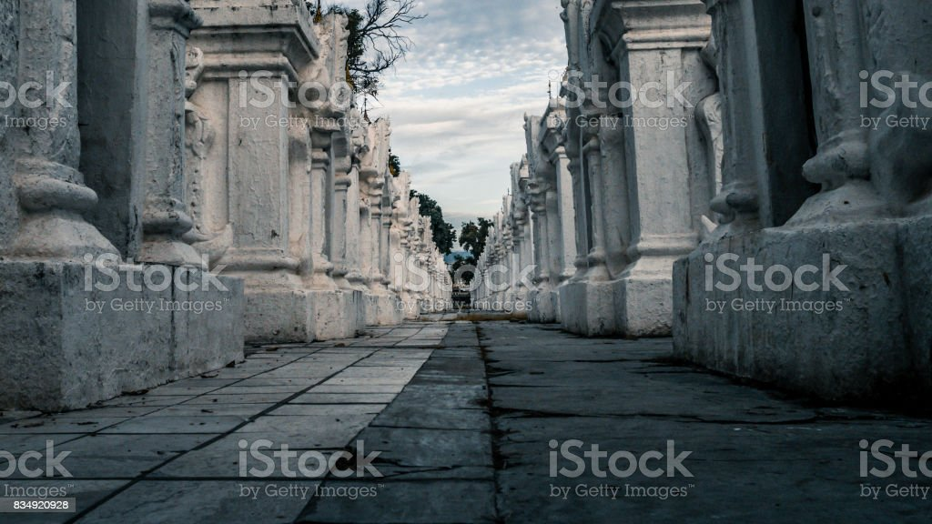 The stupas contain the marble slabs of Buddhist canon in Mandalay, Myanmar stock photo