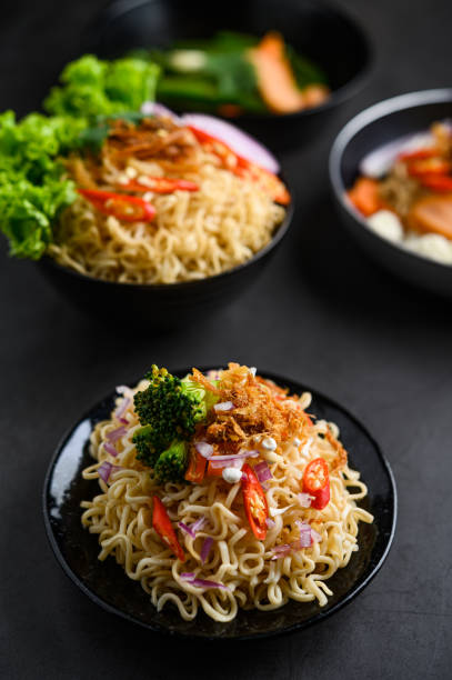 The style still life with noodles in the bowl stock photo