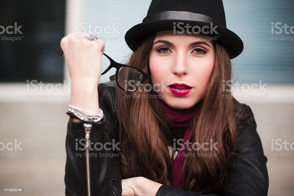 the stylish urban girl with sunglasses stock photo