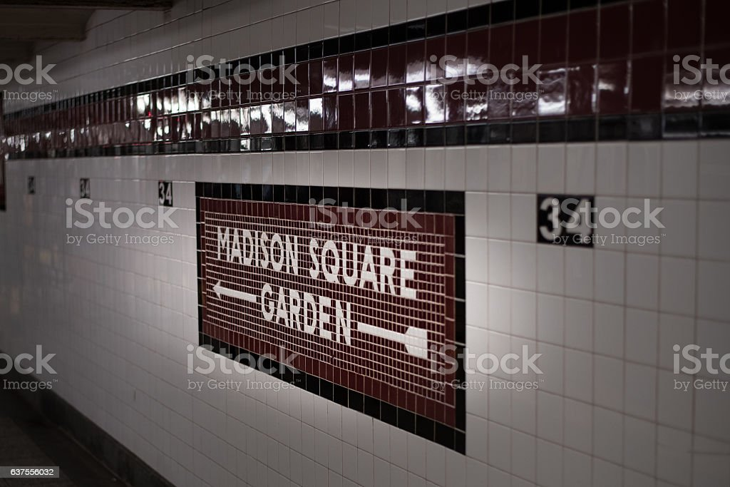 The subway sign at New York City stock photo