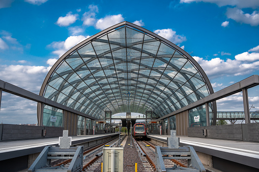 The subway station Elbbrücken on a sunny day in September 2020 in the new quarter Hafen City of Hamburg, Germany.