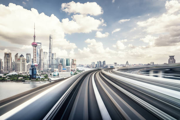 The Subway through the bridge with shanghai city skyline background City, Power Line, Highway, Bridge - Built Structure, Traffic pudong stock pictures, royalty-free photos & images