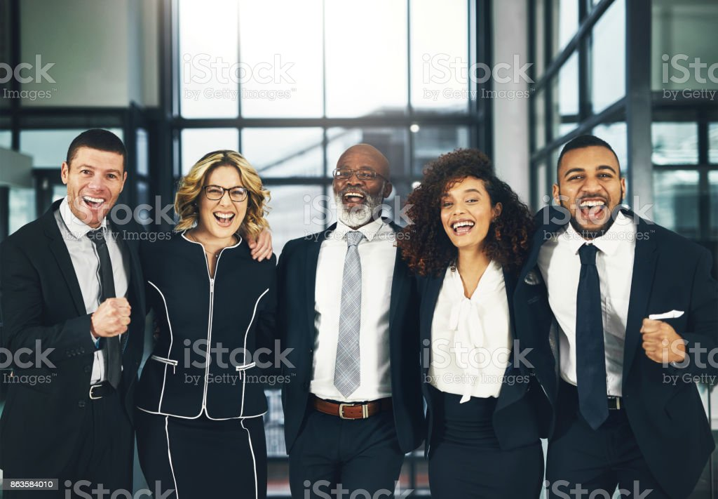 The successful team finds a way to win stock photo