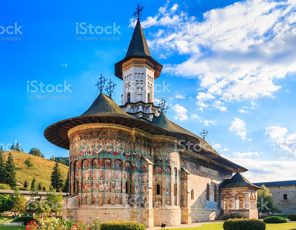 The Sucevita Monastery, Romania. stock photo