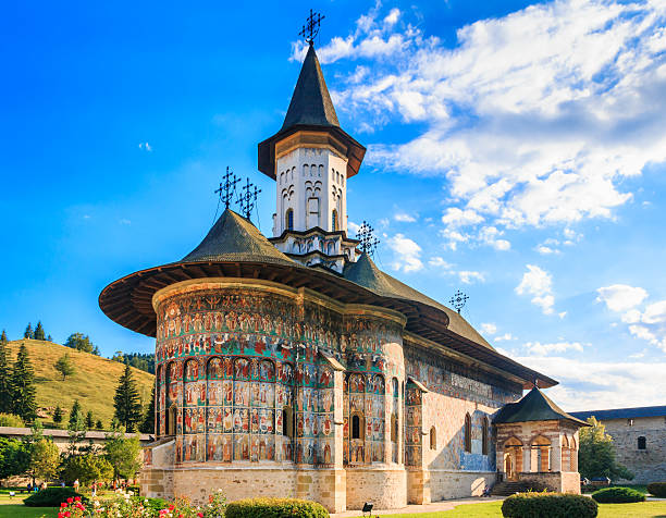 The Sucevita Monastery, Romania. The Sucevita Monastery, Romania. One of Romanian Orthodox monasteries in southern Bucovina. abbey monastery stock pictures, royalty-free photos & images