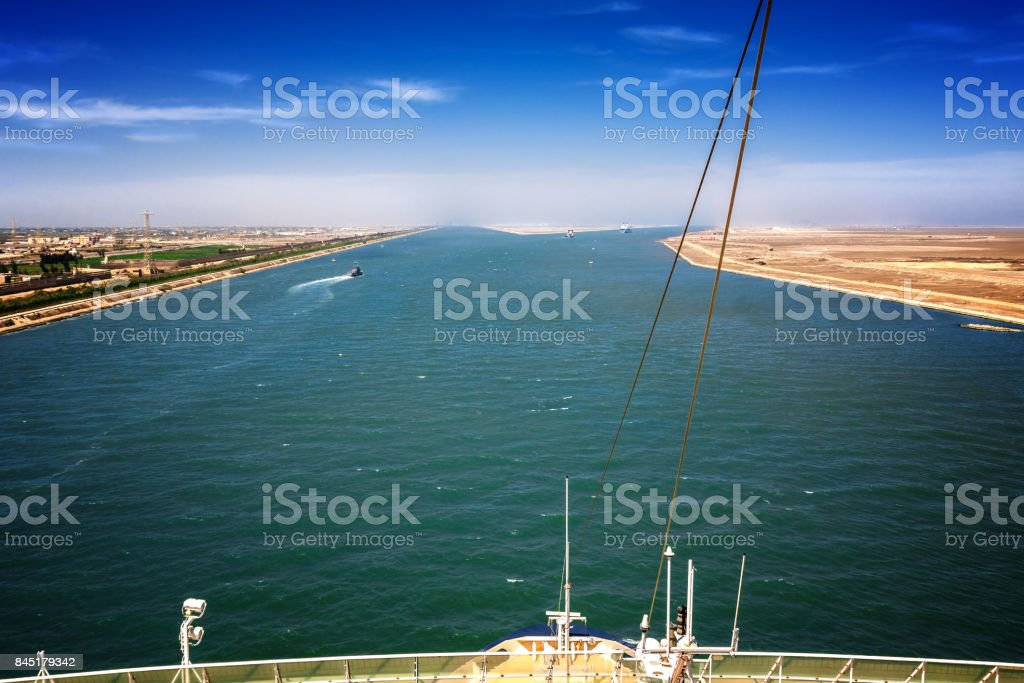 The Suez Canal at Port Said with the 2 exits to the Mediterranean Sea stock photo