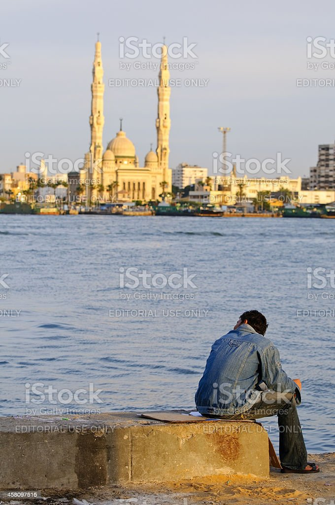 Man and Mosque stock photo