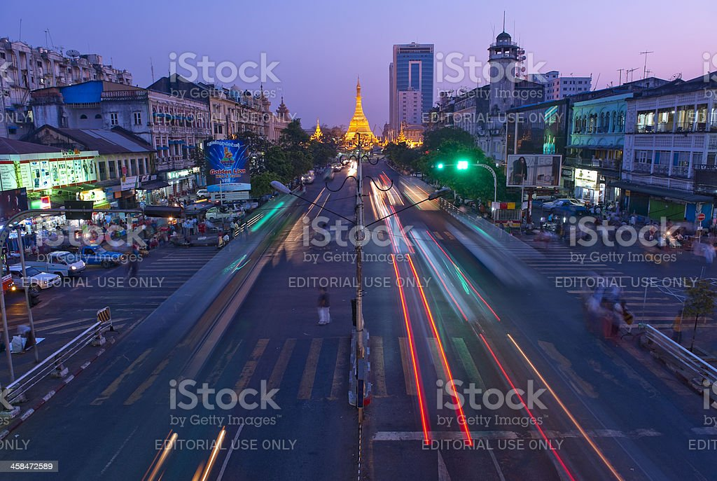 The Sule Paya at night in Yangon, Myanmar stock photo