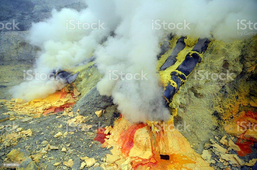 The Sulfur Mine of Kawah Ijen stock photo