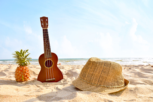 istock The Summer day with Guitar ukulele for relax on the beautiful beach and blue sky background 1134901535