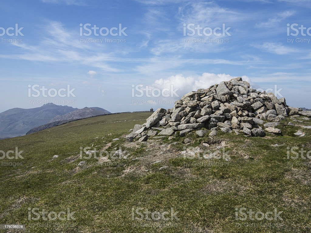 the summit cairn stock photo