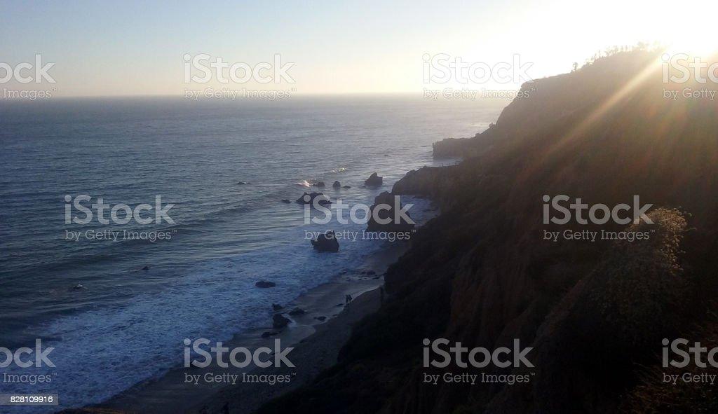 The Sun Begins to Set on El Matador Beach stock photo
