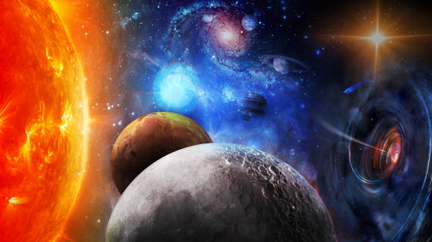 The sun, black hole and planets in space. Elements of this image furnished by NASA. stock photo