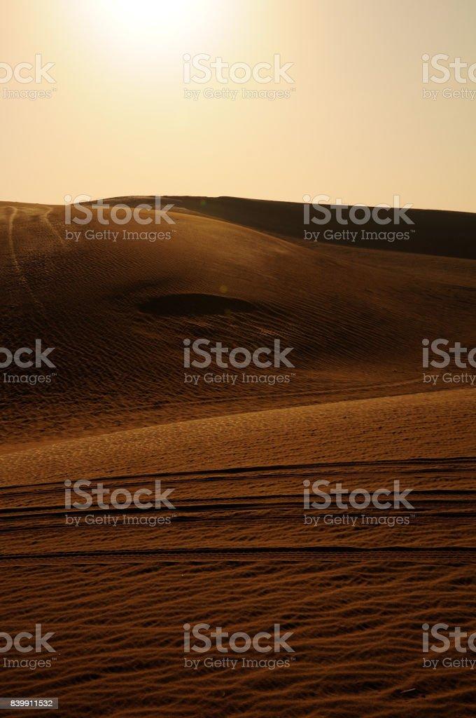 The sun in the desert stock photo