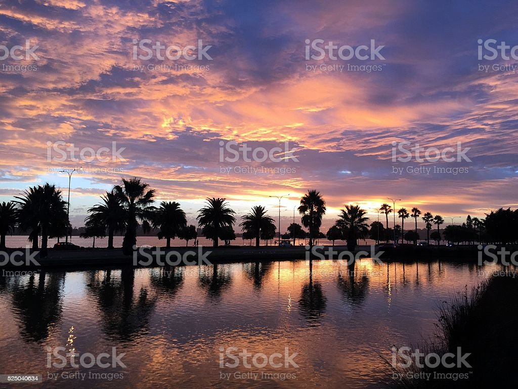 The sun is going down stock photo