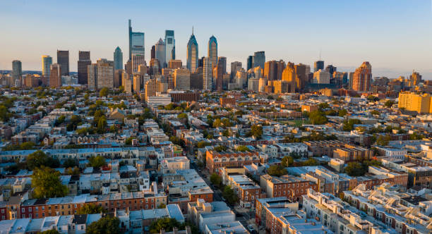 The Sun is Setting on the South Side of Downtown Philadelphia Pennslyvania stock photo