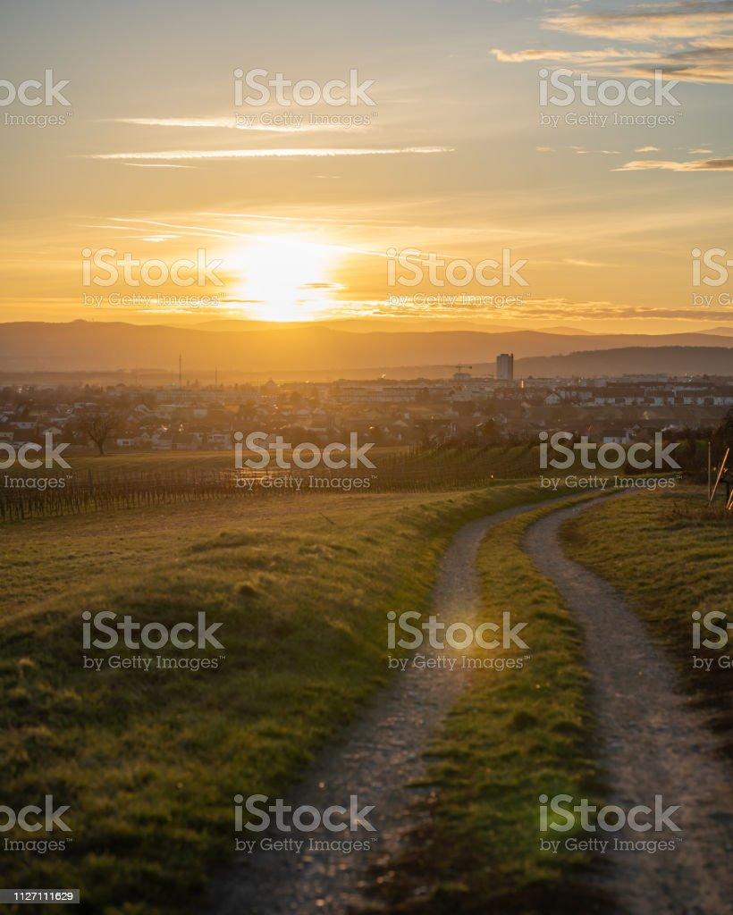 The sun is setting over Eisenstadt, Burgenland, Austria stock photo